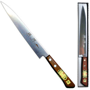 Japanese-8-034-Stainless-Steel-Silver-Blade-Sashimi-Knife-Wood-Handle-Made-in-Japan
