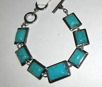 Boutique Collection Silver & Turquoise Rectangles Toggle Bracelet