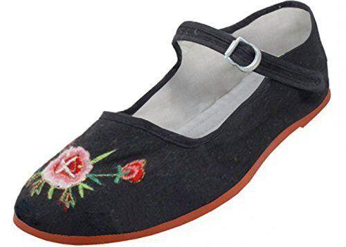la femme est mary janes roses en coton noir souliers lowrider mexicaine mexicana, souliers noir plats 179dfa