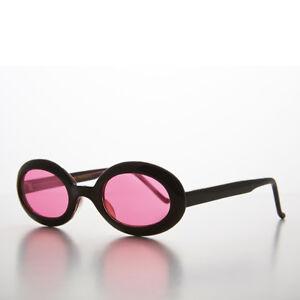 Pink Small Oval Colored Lens Vintage 90s Sunglass Black Frames Gem