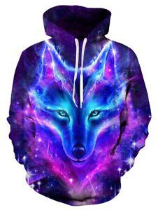6eaa6fbac8 Galaxy Wolf 3D Print Women Men Hoodie Pullover Sweatshirt Hooded ...