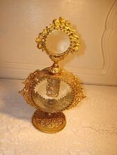 Vtg Stylebuilt/Matson Perfume Bottle Gold GILT~ Filigree & Clear Gem~Filigreel