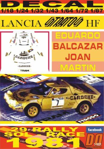 DECAL LANCIA STRATOS HF CAROCHE E.BALCAZAR R.SOL RACE 1981 4th 01