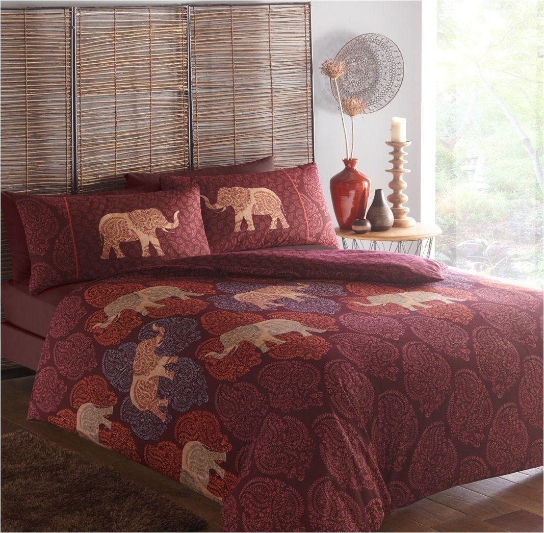 Single Bed Duvet Cover Set Saira Ethnic Elephants Plum Aubergine Tribal gold