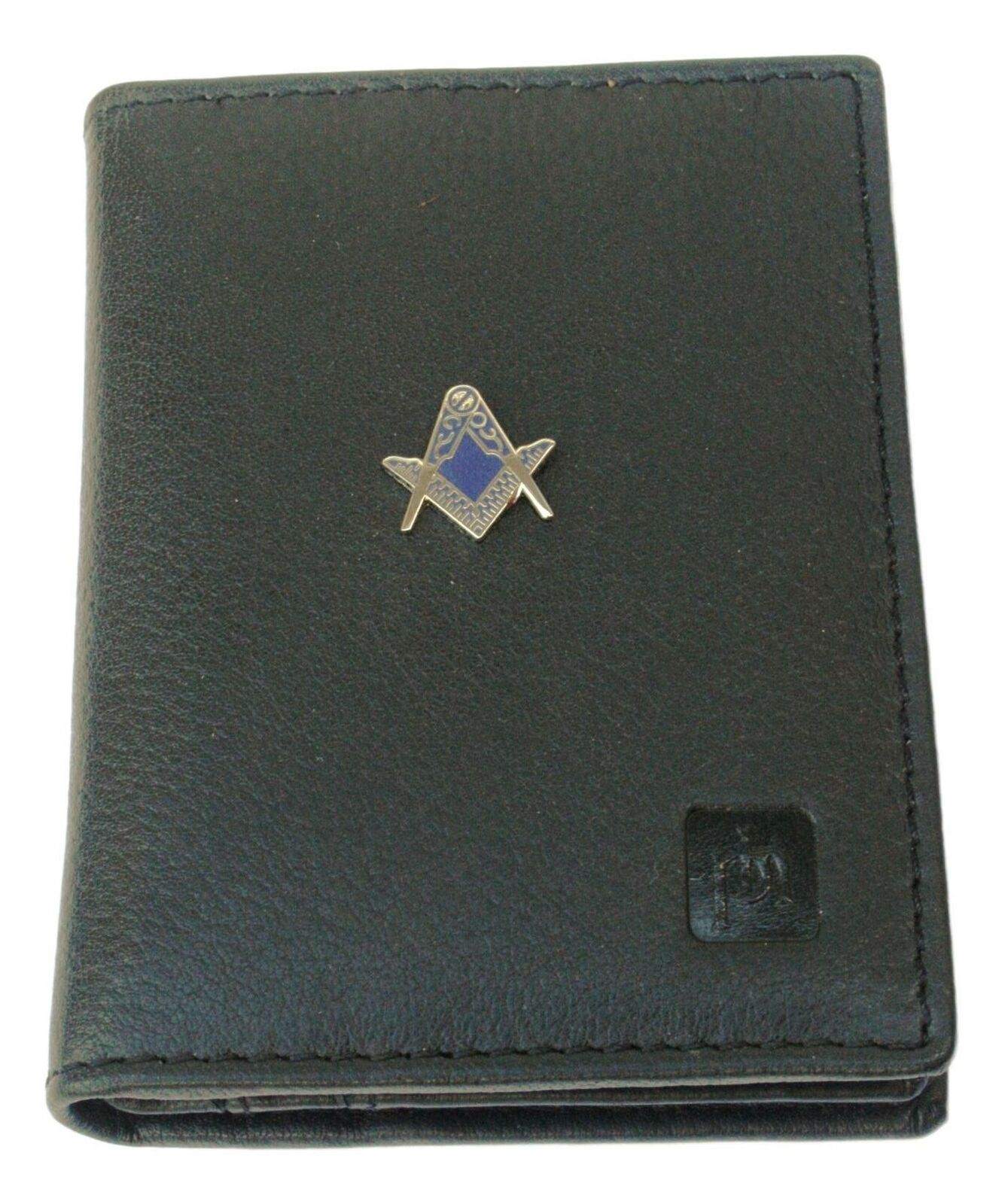 Compass & Sq Cut Out Bifold Card Holder Leather Black Wallet RFID Safe 81