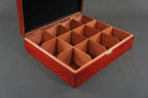 1x Mahogany Wooden Tea Box Tea Caddy Kitchen Chest 12 Compartments H12cf