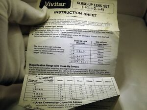 Vivitar Close-Up Macro Filters Instruction Sheet Guide +1 +2 +4 EN