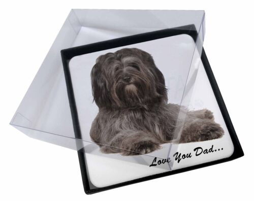 4x Tibetan Terrier Dog 'Love You Dad' Picture Table Coasters Set in Gi, DAD192C