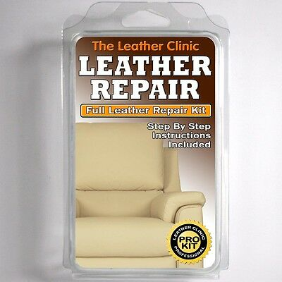 LIGHT CREAM Leather Sofa & Chair Repair Kit for tears holes scuffs | eBay