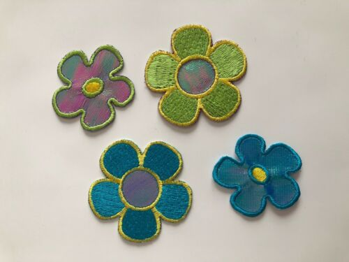 Set of 4 Various Holographic Flowers with Details Embroidered Iron-On Patch