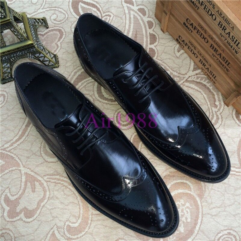 New Uomo Dress Formal Shoes Wing Tip Brogues Pelle Shoes Derby shoes Sz