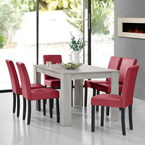 Tavolo da Pranzo Rovere Bianco con 6 Sedie Rosso Scuro 140x90 ...