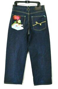 LR Geans LRG Grass Roots Embroidered Pocket Men's Size 34 Denim Dark Jeans