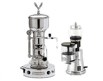 Elektra Semiautomatica Microcasa Machine & Grinder MSC Chrome Espresso Set 220V