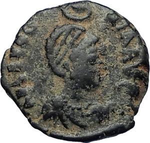 EUDOXIA-Arcadius-Wife-400AD-Authentic-Ancient-Roman-Coin-GOD-039-s-HAND-CROSS-i67451