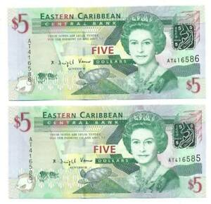 East-Caribbean-States-2-x-5-Dollars-2008ND-Consecutive-Numbers-P-47
