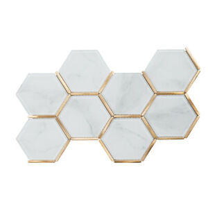 White Calacatta Crystal Glass Gold Hexagon Mosaic Tile Backsplash Kitchen Bath Ebay