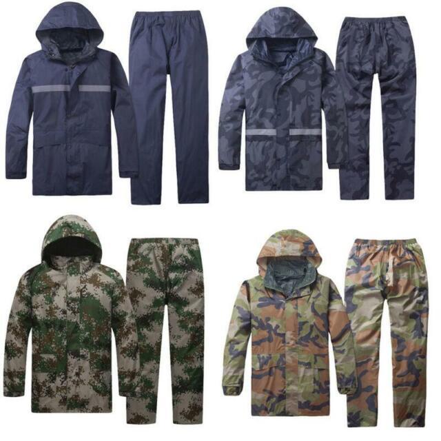 2PC Mens Windproof Waterproof Jacket pants Bicycle Outdoor Motorcycle Rain Coat