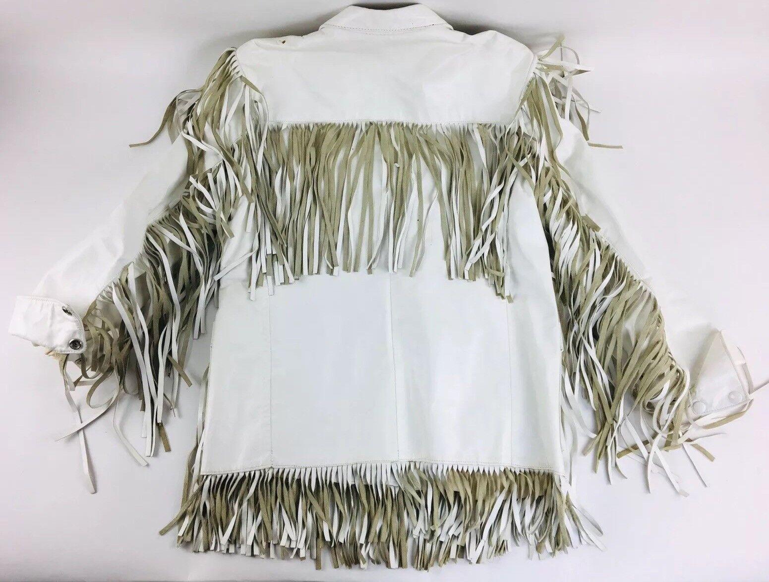 Vintage White Leather Jacket Vakko Leather Fringe… - image 5