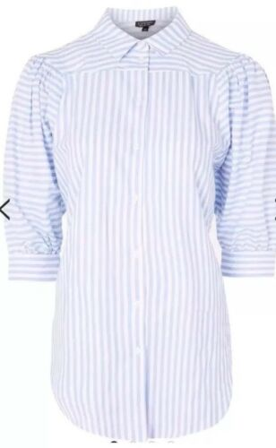 Topshop Stripe Puff Sleeves Shirt Top Brand New Various Sizes RRP £32