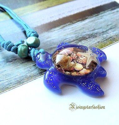 Cool Cute Longevity Symbol Color Sea Turtle Fashion Fun Adjustable Necklace