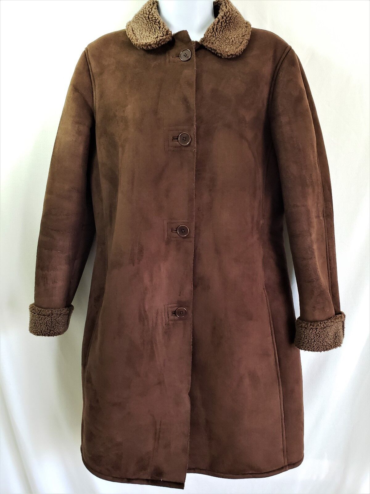 Lands' End Womes S S S 6 8 Brown Faux Suede Sherpa Lined Coat Size SMALL 3b504f