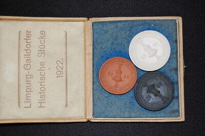 3 Porzellanmedaillen Limpurg-gaildorfer Historische Stücke 1922 Deutschland