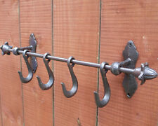 49cm Vintage Cast Iron 4 Hooks Coat Clothes Wall Mounted Hanger Towel Rail Shelf