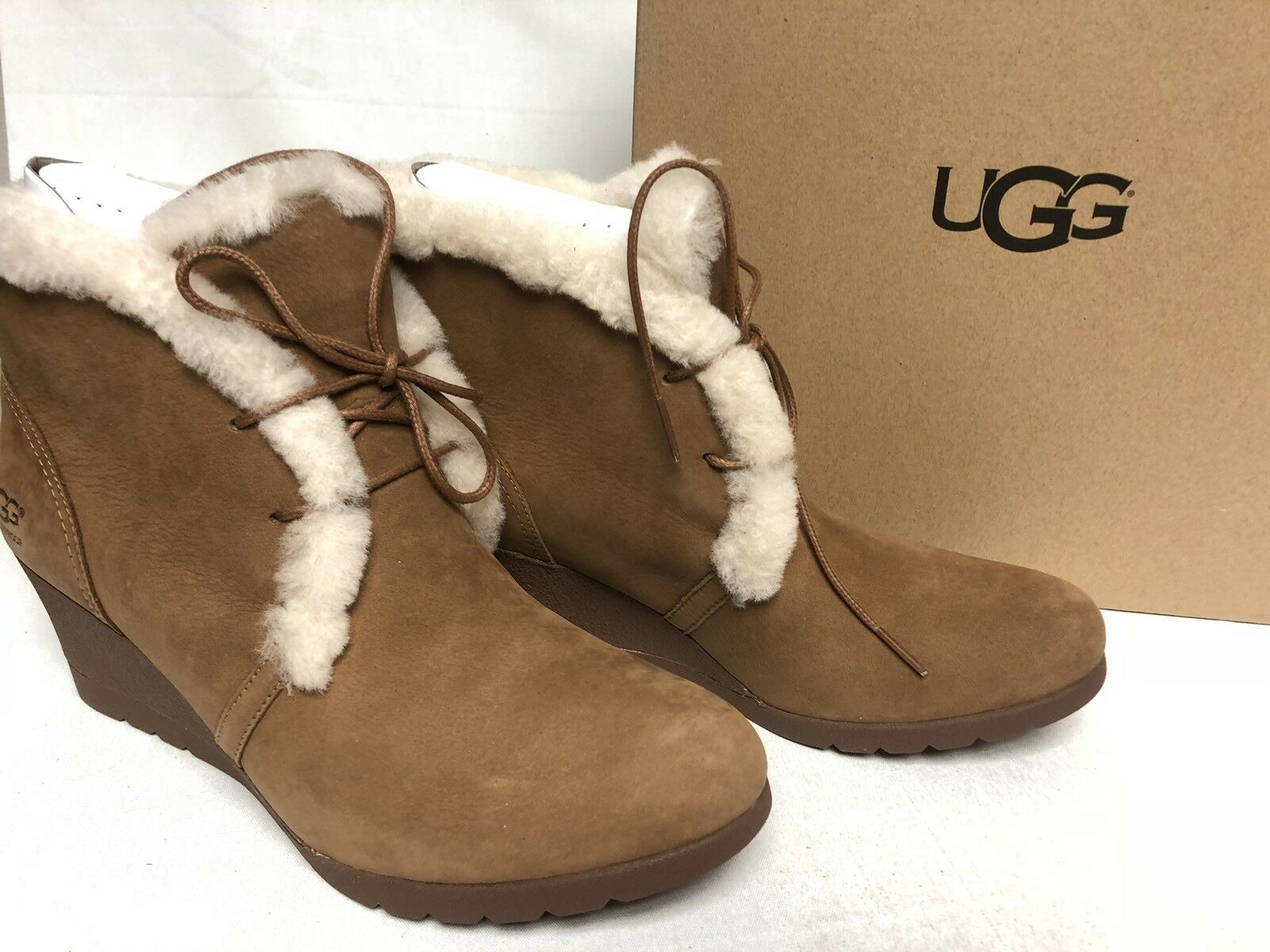 c51d0df072a UGG Australia Jeovana Boots Chestnut Suede Waterproof WP 1017421 Wedge Lace  Up
