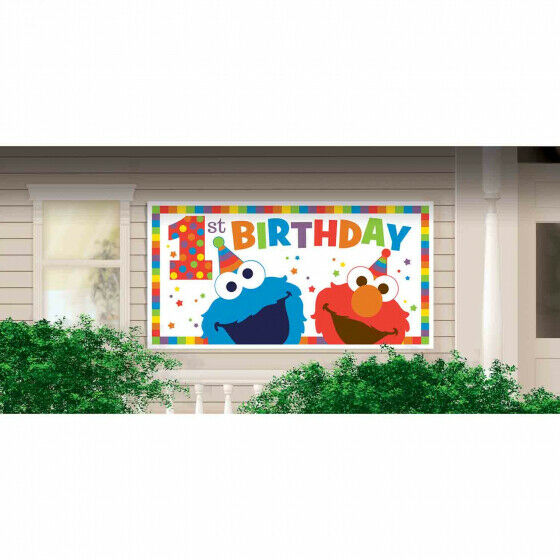 Sesame Street Party Supplies Elmo Turns One 1st Birthday Giant Banner (1.6 m)