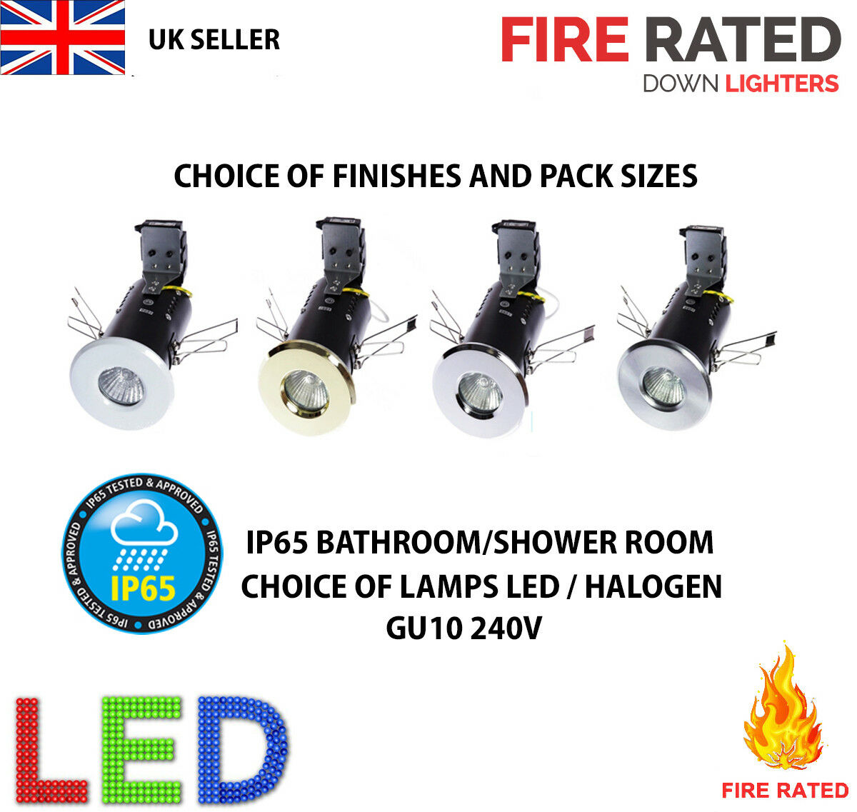 FIRE RATED IP65 DOWNLIGHT BATHROOM ENSUITE SHOWER CHOICE ...
