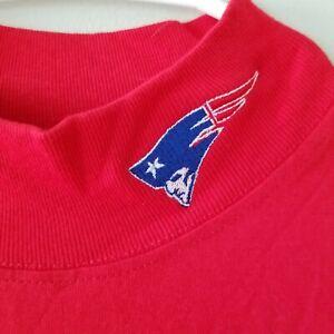Vintage-Red-Mock-Neck-Patriots-Short-Sleeve-Shirt-Mens-Large