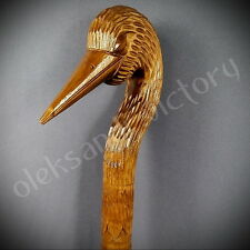 Stork Cane Walking Stick Wooden Handmade Wood Carving Exclusive Folk Art Brown