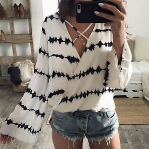 Womens-Loose-Long-Bell-Sleeve-V-Neck-Striped-Tops-Chiffon-Casual-Blouse-T-Shirts