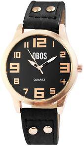 Qbos-Damenuhr-Schwarz-Rosegold-Analog-Kunst-Leder-Quarz-X1900199005