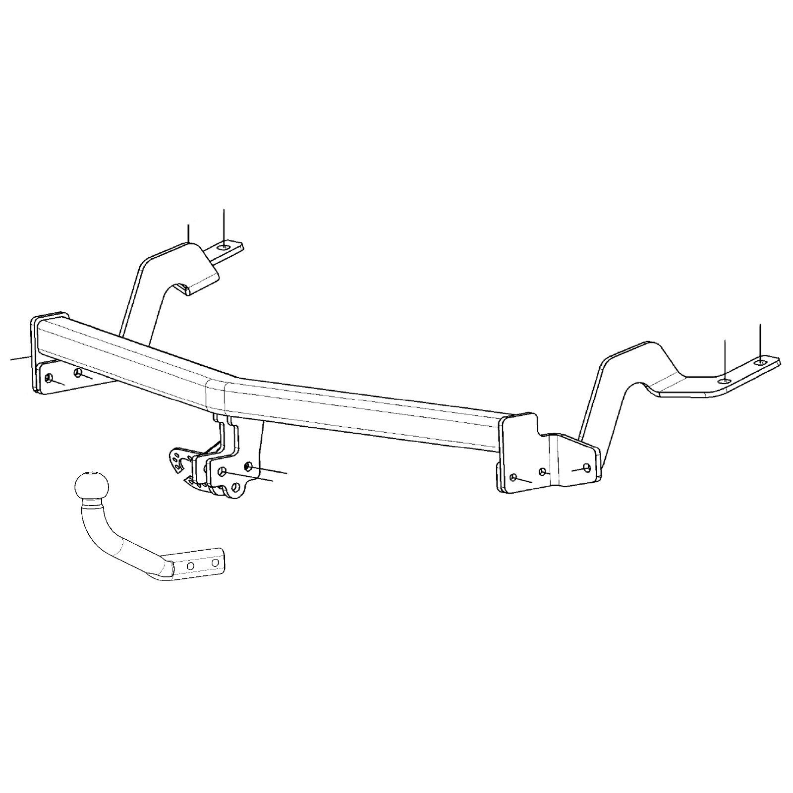 Swan Neck Tow Bar Towbar for Citroen Nemo Van 2008 Onwards