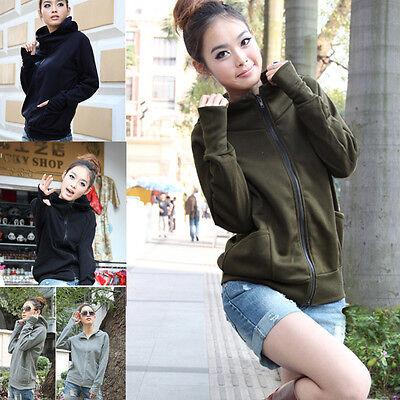 Korean Women Autumn Long Sleeve Casual Zipper Hooded Thin Sweater T-Shirt Tops
