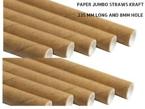 100-PCS-Paper-jumbo-Straws-Kraft-235mm-Long-and-8mm-Hole-Free-Post