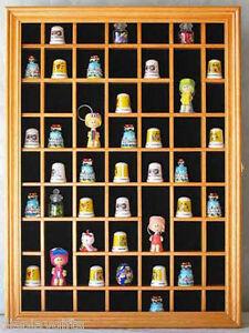 59 Thimble Display Case Wall Shadow Box Cabinet, Solid Wood, Glass Door, TC01-OA