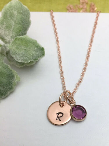 Rose Gold Tone Personalised Initial Necklace Birthstone Charm Gift Box
