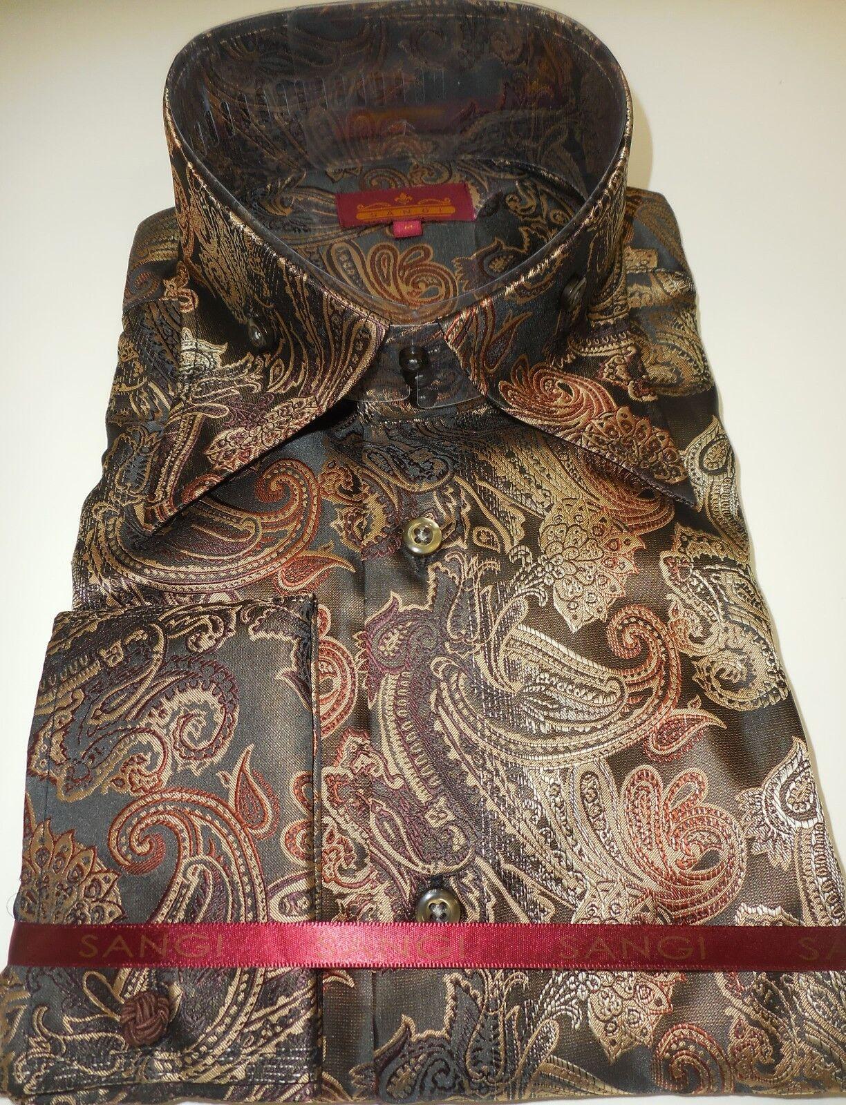 Mens Chocolate Paisley High Collar Jacquard Shirt SANGI ROME COLLECTION   2014