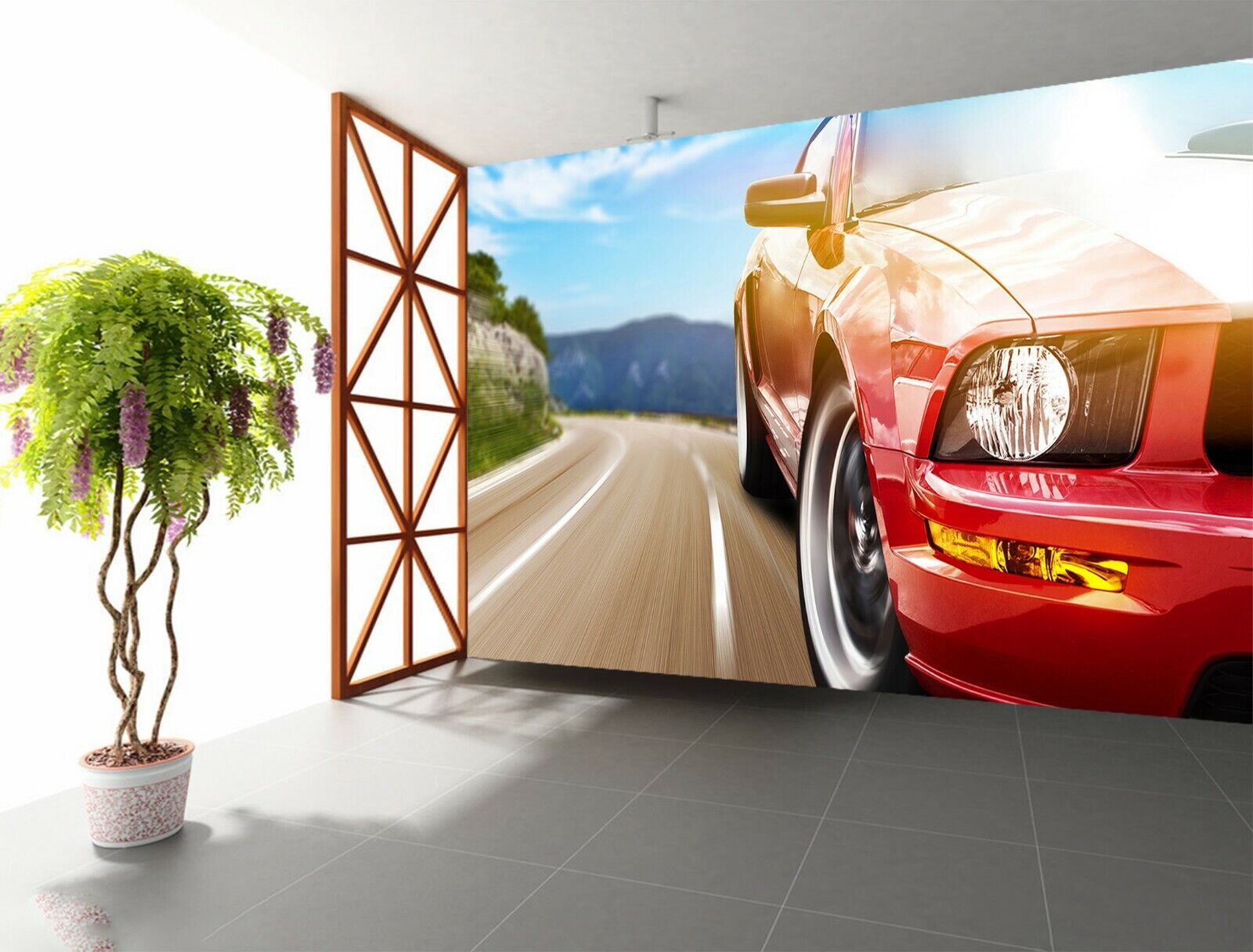 3D Rotes Auto O111 Auto Tapete Wandbild Selbstklebend Abnehmbare Angelia