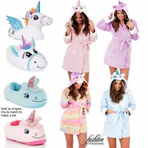 Luxury-Ladies-Unicorn-3D-Slippers-Or-Short-Hooded-Bath-Robe-Gown-Make-A-Gift-Set