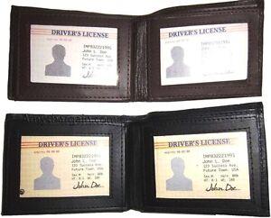 man's Leather Wallet 9 Card Holder 3 ID windows Billfold Leather Wallet