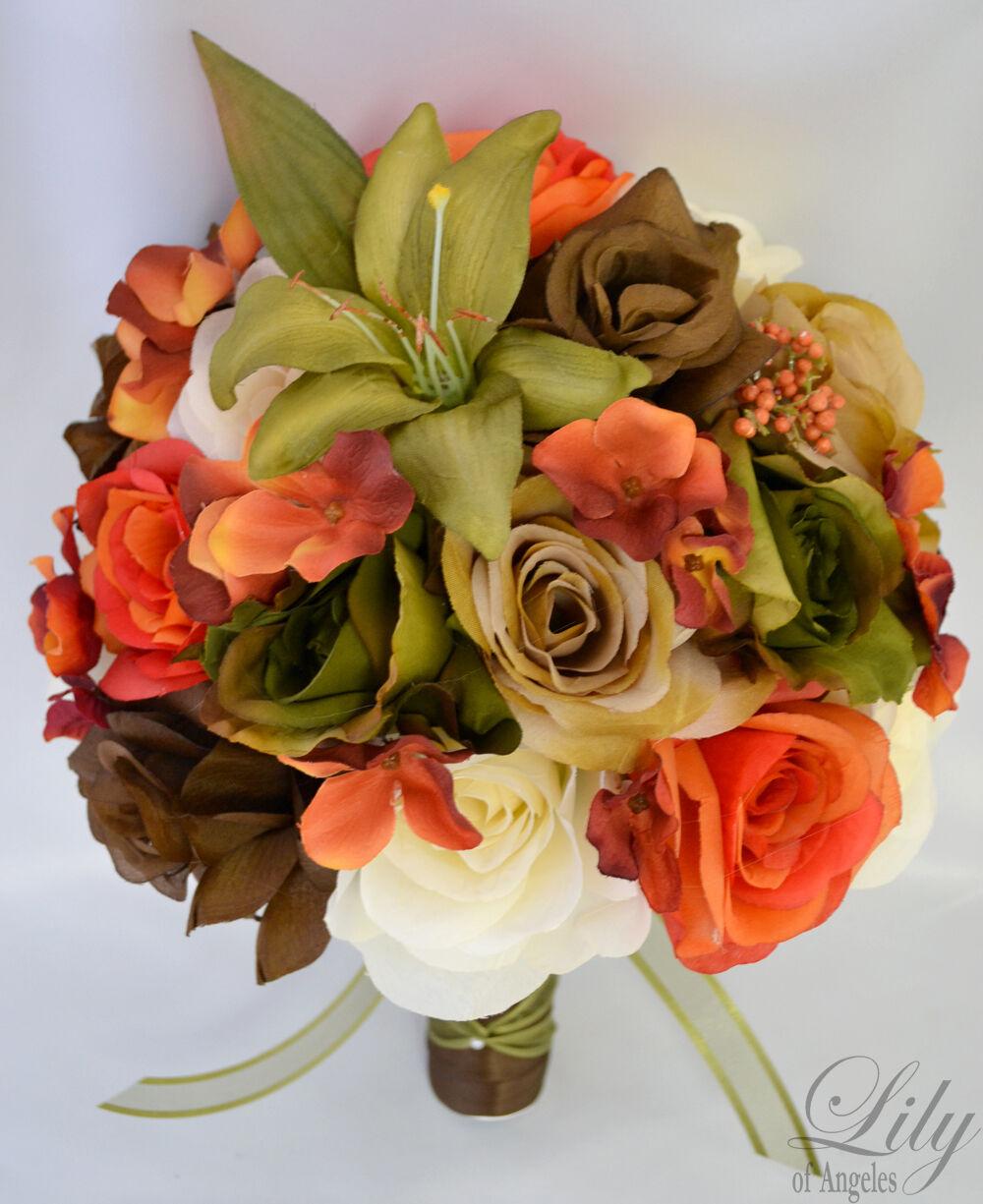 17pcs Robe de Mariage Bouquet Soie Décoration Fleur Paquet Orange vert mousse