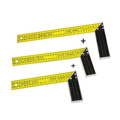 1x Schreinerwinkel Set 3-tlg  250mm-350mm 90° Winkel Messwinkel Anschlagswinkel