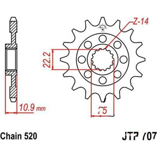 Teilung 520 JTF707.16 JT Motorrad Racing-Ritzel 16 Zähne