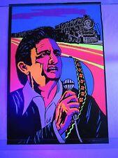 Vintage Psychedelic Blacklight Poster JOHNNY CASH Folsom Prison Train VERY RARE