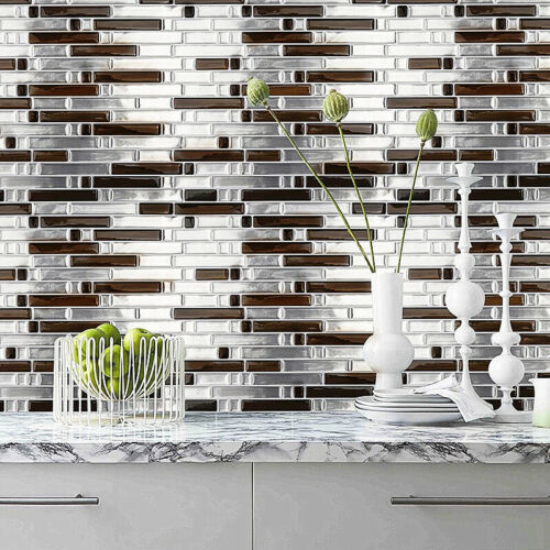 DIY 3D Mosaic Self Adhesive Wall Tile Sticker Vinyl Bathroom Kitchen Home Decor