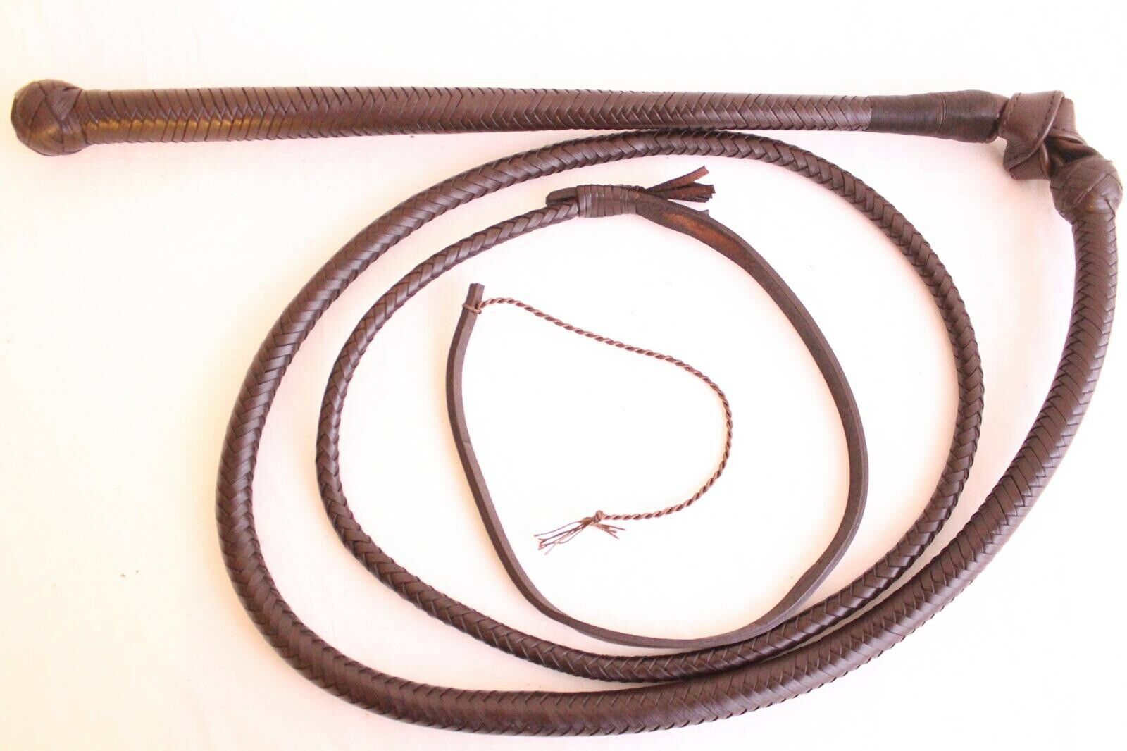 6 Feet Long Stock whip, 12 Plaited Genuine Cow Leather, Heavy Duty, Hand Crafted